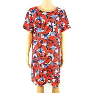 J Crew Gallery Shift Dress Red Blue Floral